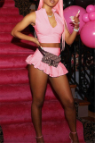 Pink Sexy Casual Solid Vests Zipper Collar Sleeveless Two Pieces
