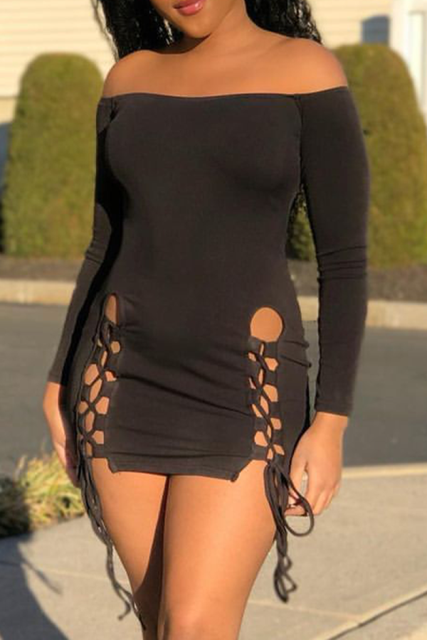 Black Sexy Solid Hollowed Out O Neck Pencil Skirt Dresses