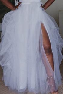 White Fashion Casual Solid Split Joint Regular Mesh Skirt