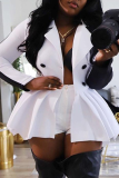 White Casual Solid Split Joint Turndown Collar Long Sleeve Two Pieces