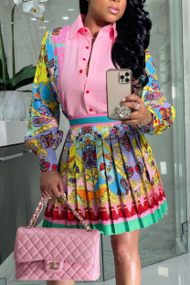 Pink Yellow Sweet Print Split Joint Turndown Collar Long Sleeve Two Pieces