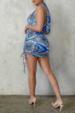 Blue Fashion Sexy Print Hollowed Out Backless Halter Sleeveless Dress