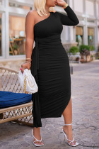 Black Sexy Solid Split Joint Flounce Fold Oblique Collar Pencil Skirt Dresses