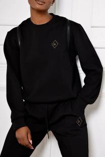 Black Fashion Casual Striped Split Joint Zipper O Neck Plus Size Tops