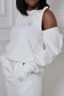 White Fashion Casual Striped Split Joint Zipper O Neck Plus Size Tops