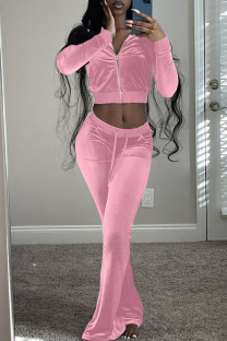 Pink Casual Solid Split Joint Zipper Collar Long Sleeve Two Pieces