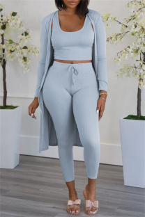 Blue Gray Fashion Casual Solid Cardigan Vests Pants U Neck Long Sleeve Three-piece Set