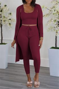 Burgundy Fashion Casual Solid Cardigan Vests Pants U Neck Long Sleeve Three-piece Set