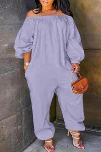 Light Purple Fashion Casual Solid Basic Off the Shoulder Plus Size Jumpsuits (No Pocket)