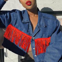 Deep Blue Fashion Casual Patchwork Tassel Turndown Collar Long Sleeve Regular Denim Jacket