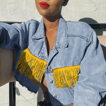 Light Blue Fashion Casual Patchwork Tassel Cardigan Turndown Collar Long Sleeve Regular Denim Jacket