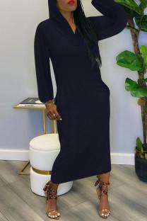 Tibetan Blue Fashion Casual Solid Ripped Shirt Collar Long Sleeve Dresses