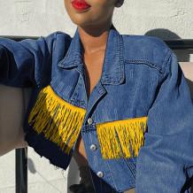 Deep Blue Fashion Casual Patchwork Tassel Cardigan Turndown Collar Long Sleeve Regular Denim Jacket