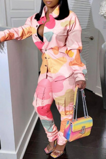 Multicolor Fashion Casual Print Buttons Turndown Collar Long Sleeve Two Pieces