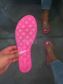 Pink Fashion Casual Split Joint See-through Comfortable Slippers