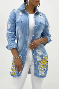 Light Blue Fashion Casual Patchwork Ripped Cardigan Turndown Collar Plus Size Overcoat
