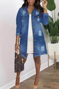 Deep Blue Fashion Patchwork Ripped Cardigan Turndown Collar Long Sleeve Regular Denim Jacket