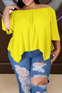 Yellow Casual Solid Split Joint Asymmetrical Off the Shoulder Plus Size Tops