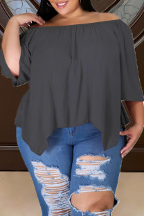 Grey Casual Solid Split Joint Asymmetrical Off the Shoulder Plus Size Tops