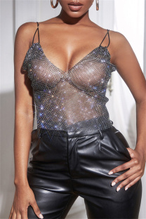 Black Fashion Sexy Patchwork See-through Backless Spaghetti Strap Tops