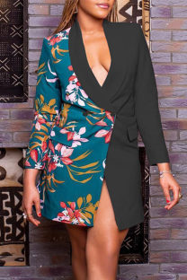 Black Fashion Casual Print Split Joint Turndown Collar Outerwear