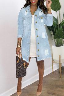 Light Blue Fashion Patchwork Ripped Cardigan Turndown Collar Long Sleeve Regular Denim Jacket