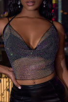 Black Sexy Solid See-through Halter Tops