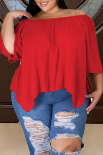 Red Casual Solid Split Joint Asymmetrical Off the Shoulder Plus Size Tops
