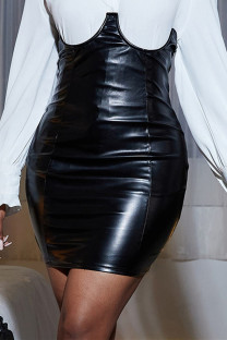 Black Fashion Sexy Solid Asymmetrical Skinny High Waist Skirt (Without Shirt)