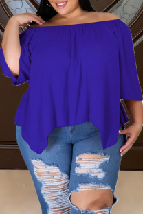 Color Blue Casual Solid Split Joint Asymmetrical Off the Shoulder Plus Size Tops