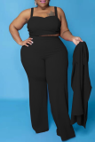 Brownness Casual Solid Split Joint Plus Size Two Pieces