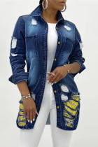 Deep Blue Fashion Casual Patchwork Ripped Cardigan Turndown Collar Plus Size Overcoat