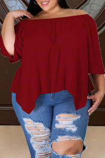 Deep Red Casual Solid Split Joint Asymmetrical Off the Shoulder Plus Size Tops