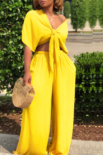 Yellow Casual Solid Split Joint V Neck Half Sleeve Two Pieces