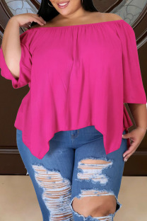 Rose Red Casual Solid Split Joint Asymmetrical Off the Shoulder Plus Size Tops