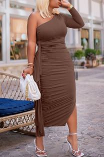 Coffee Sexy Solid Split Joint Flounce Fold Oblique Collar Pencil Skirt Dresses