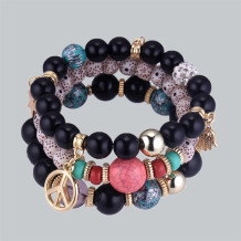 Black Bohemian Patchwork Bracelets