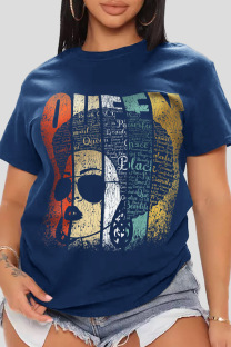 Navy Blue Casual Print Split Joint O Neck T-Shirts