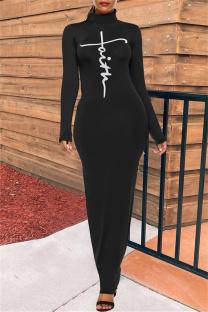 Black Fashion Casual Print Basic Turtleneck Long Sleeve Dresses