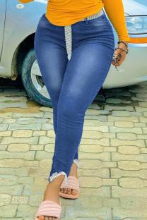 Medium Blue Fashion Casual Solid Split Joint Plus Size Jeans
