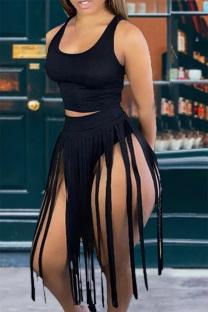 Black Sexy Solid Tassel U Neck Sleeveless Two Pieces