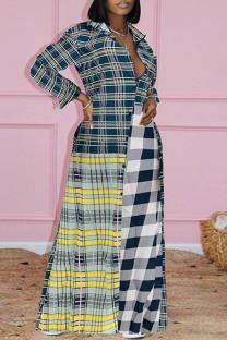Multicolor Fashion Casual Plaid Print Split Joint Turndown Collar Shirt Dress