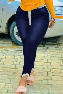 Deep Blue Fashion Casual Solid Split Joint Plus Size Jeans