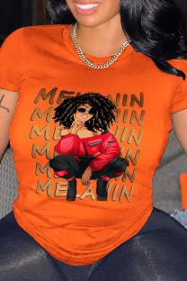 Orange Casual Print Split Joint O Neck T-Shirts