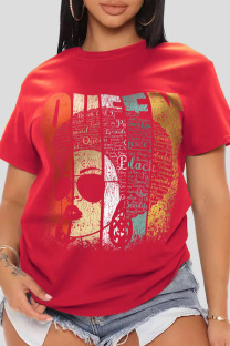 Red Casual Print Split Joint O Neck T-Shirts