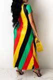 Yellow Sexy Striped Cross Straps O Neck Irregular Dress Dresses