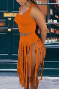Tangerine Red Sexy Solid Tassel U Neck Sleeveless Two Pieces