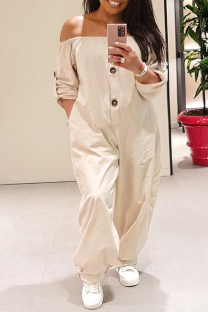 White Fashion Casual Solid Split Joint Off the Shoulder Plus Size Jumpsuits