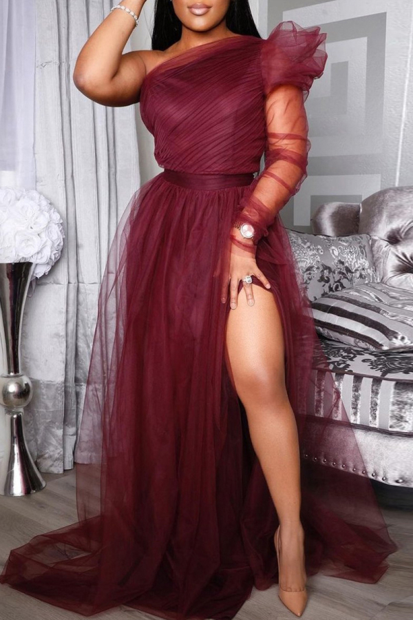 Burgundy Fashion Sexy Solid Backless Slit Oblique Collar Long Sleeve Plus Size Dresses
