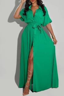 Green Fashion Casual Solid With Belt Turndown Collar Shirt Dress